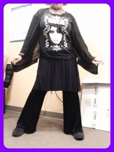 Cardigan: Victoria's Secret T-shirt: Ebay Skirt: Ebay Velvet bellbottoms: L. Rose Designs Boots: Fitflop