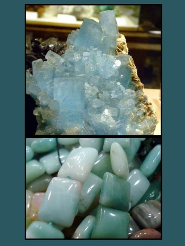 TOP IMAGE: Raw aquamarine cluster BOTTOM IMAGE: Polished aquamarine stones