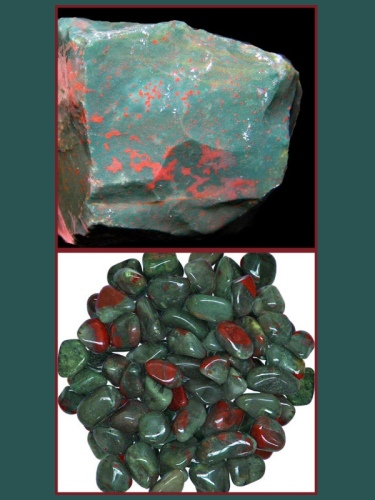 TOP IMAGE: Raw bloodstone, BOTTOM IMAGE: Polished bloodstones