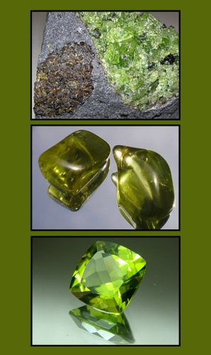 From TOP to BOTTOM: Raw peridots in brown and green; polished peridot in olive green; faceted peridot in chartreuse